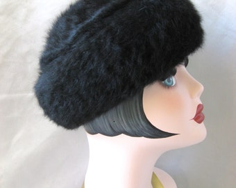 Vintage Angora Black Soft Cap Beanie Pillbox Pill Box Hat 1960s 1970s 1980s Fall Winter Boutique Kates Canada