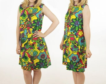 60's Mod Psychedelic Floral Handmade Heavy Cotton Vintage Go Go Dress Women's Size Medium / Large