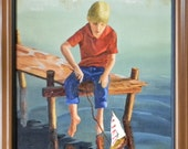 Boy on a dock, original figure oil painting 16x20