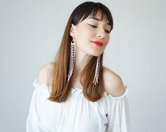 Bohemian Earrings Boho-Chic Fashion Statement Earrings Pink Earrings Gift For Her Bohemian Jewelry Tassel Earrings Fringe Earrings / MUCCIA