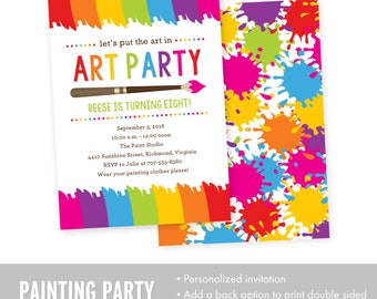 Art Party Invitation - Art Birthday Invitation - Painting Birthday Invitation - Printable Invitation - Birthday Party Invitation