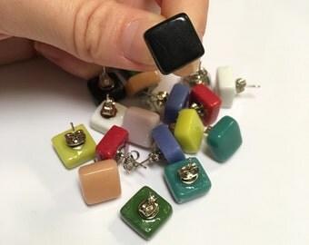 Handmade Flat Glass Square Stud Earrings