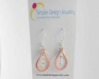 Copper Teardrop Earrings with Twisted Sterling Silver Dangle, copper earrings, mixed metal earrings, dangles,