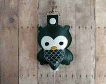 Owl Hand Sanitizer Holder- Dark Green Embroidered Vinyl with Snap, Great for Backpacks, Bags and Purses, Choose From Assorted Colors