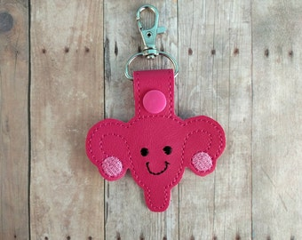 Happy Uterus Key Chain, Hot Pink Vinyl with Pink and Black Embroidery and Pink Snap, Gift for Labor Nurse or OB/GYN, Bag Tag, Medical Gift