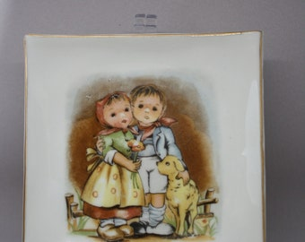 Small Square Plate with adorable Hummel looking Boy & Girl and Dog