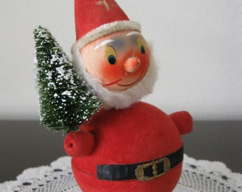 1950s Santa Claus Bobblehead Candy Container - Paper Mache - Western Germany