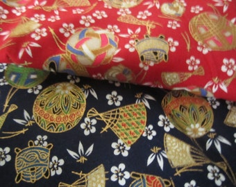 Japanese Fabric Traditional Pattern Red and Blue Two Pieces