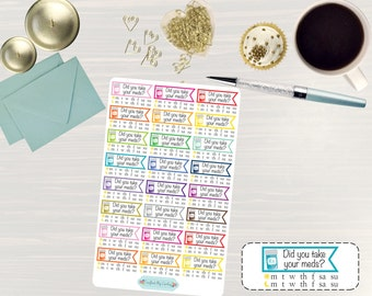Medicine Weekly Tracker Stickers - Medical Stickers, Pill Planner, Planner Stickers, Weekly Medicine, for use with ERIN CONDREN LifePlanner