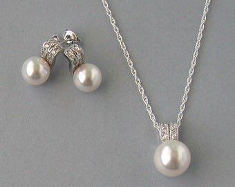 Genuine Swarovski, White Pearls, Silver Chain, Bridal Pearl Set, White Bridal Necklace & Earrings, Bridesmaid Gift, Wedding Jewelry - DK85