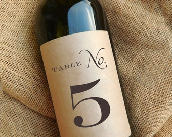 Table Number Wine Labels \\ Kraft or White \\ Self-Adhesive