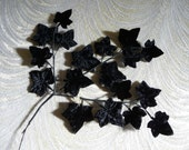 Vintage Black Velvet Leaves  Millinery Ivy Spray of 18  from Japan NOS for Hats Crafts Costumes