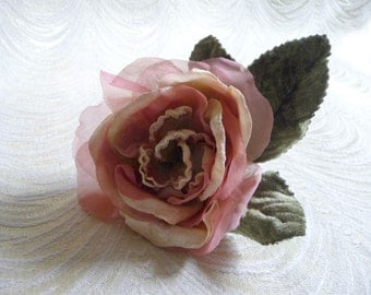 Velvet and SIlk Rose Millinery Flower Pink Ivory Mauve with Leaves for Hats, Wedding, Corsage 3FN0046P