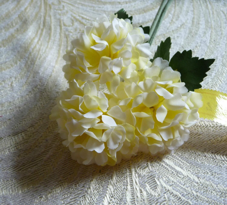 vintage millinery flowers hydrangea lemon yellow bunch of