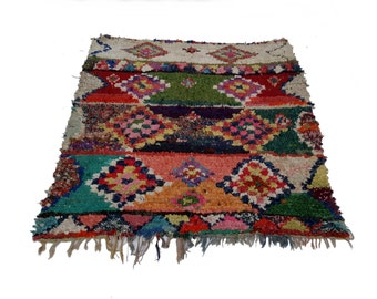 """67""""X61"""" Vintage Moroccan rug woven by hand from scraps of fabric / boucherouite / boucherouette"""
