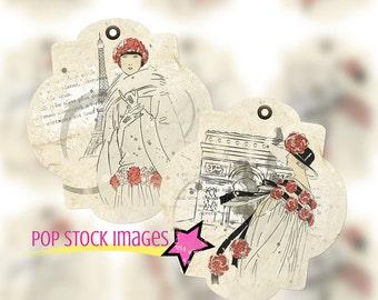 Vintage French Fashion and Ephemera Tags - Vintage French Fashion Illustrations - Printable Hang Tags - Journal Tags