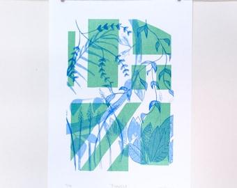 Jungle, Limited Edition Risograph Print, A4, 21cm x 29cm unframed.
