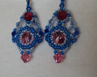Long blue and pink earrings with pink crystal