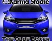 """24"""" Car Mustache Vinyl Decal Sticker - Style; Olde Boxer - Color; Gray  -  Karma Stache: Your #1 Source for Car Mustaches!"""
