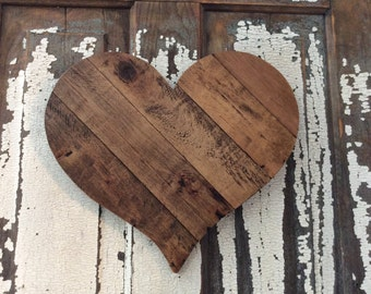 Rustic Reclaimed Wooden Heart, Rustic Wedding, Cottage Beach Loft Home Decor Unique Gift