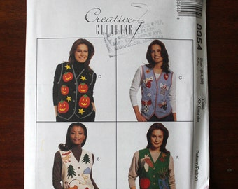 Misses' Lined Applique Vests Halloween, Harvest, Christmas, Angels, Holiday Clothing McCall's 8354 Plus Size 24, 26 Creative Clothing 1996