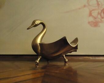 Vintage Brass Swan . Soap dish . Trinket Dish