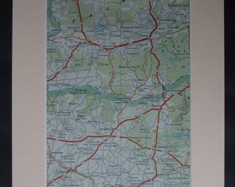 1980s Vintage Map of the French Belgian Border, Available Framed, Belgium Art, Chimay Gift, France Wall Art, Couvin Print, Sigmy Picture