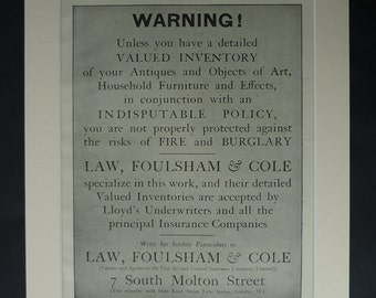 1919 Antique Law Foulsham and Co Advert for Insurance, Available Framed, Legal Art, Warning Gift for Insurer, Old Property Lawyer Wall Art
