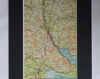 1930s Antique Irish Map of Newry, Rathfryland Print, Carlingford Picture, Poyntzpass Decor, Available Framed, Dundalk Art, Hilltown Wall Art