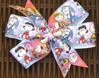 Snoopy and the Gang 4 Inch Hair Bow in 4 versions - Charlie Brown & Gang Bow - Snoopy Party- Snoopy Party Favor - Snoopy Accessory -BowBravo