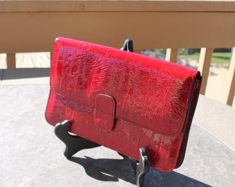 Red Faux Alligator Envelope Style Clutch Purse / Handbag