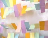 Rainbow/ Birthday Party Rectangle Paper Garland - 5 Foot Strand - Pastel Rainbow