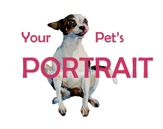 Made to order your pet portrait digital download from original watercolor cat art dog art fluffy clipart