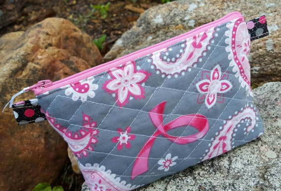 Breast Cancer Awareness Makeup Bag, Personalized Quilted Cosmetic Bag, Pink Ribbon Cosmetic Case