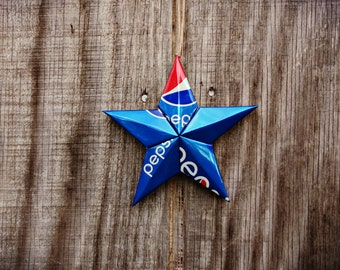 Upcycled Pepsi Soda Can Star Ornament