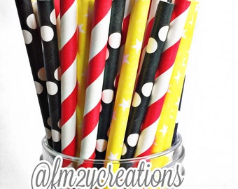 Mickey Mouse Birthday Party-- 50 Paper Straws, Mickey 1st Birthday, Mickey Mouse paper straws
