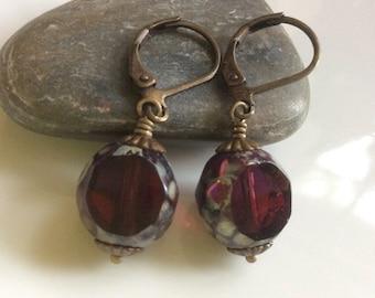 Cranberry Red Glass Earrings  Bohemian Earrings  Small Dangle Earrings  Boho Earrings  Copper Earrings  Gypsy Dangles