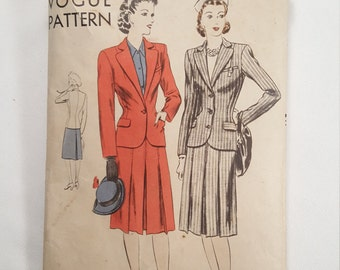 1940's Vogue Sewing Pattern Tailored Jacket with Skirt Finished with Belt