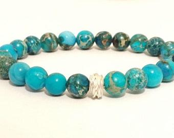 Turquoise Jasper Beads with Fine Silver Focal Bead Bracrlet. Hill Tribe Silver Boho mala bead Elastic Bracelet