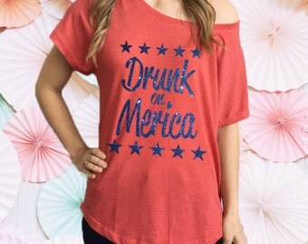 Drunk on Merica Fourth of July Souchy off Shoulder Tee Shirt. 4th of July Shirt. 4th of July Tee. Independence Day Shirt. 4th of july Party