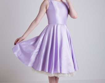 Made to Order, 50s inspired lilac satin boat neck swing dress, sizes UK 6-24