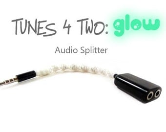 Audio Splitter | Wrapped Glow Headphones Splitter | Glow In The Dark iPhone 2-Way Music Aux Cable | Earbuds Jack Splitter | Fun Tech Gift