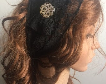 Black Lace Headband , Adult Headband , Women Wide Headband , Yoga Headband , Black Head Band , Head Wrap