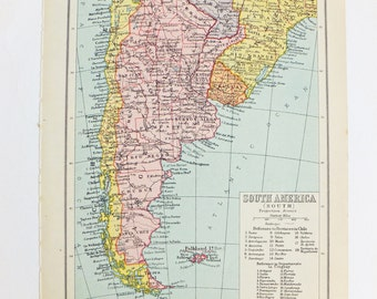 Vintage South America map, Vintage Map of South America, travel souvenir, 1934 map, pastel map, vintage colours map, old map