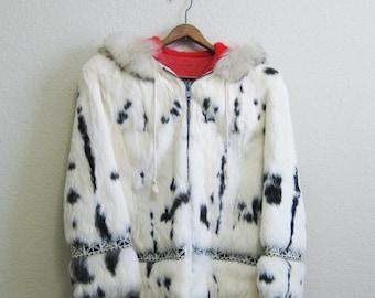 White Rabbit Fur Coat Hooded Innuit Small EPIC Mad Men Mid Century