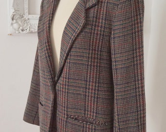 Vintage Tweedy Purple Plaid Women Wool Blazer Jacket Sz M