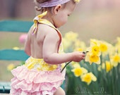 Yellow and Pink Paisley Romper Ruffled Bubble Sun Suit Birthday Photo prop by JellyLou Creations