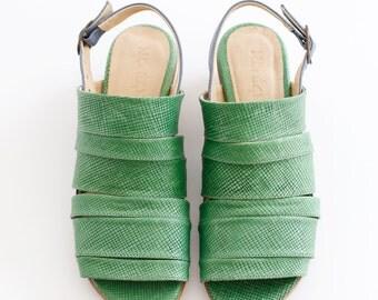 Mint Sandals Leather sandal slingbacks Strips geometric chunky heels ADIKILAV ON SALE 20%