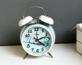 Vintage Mechanical Alarm Clock Corvair Franquin Dupuis Retro Alarm Clock with bell