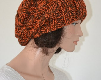 Hand Knit Slouchy Beanie hat/ College Trends Hat/ Slouchy Beanie